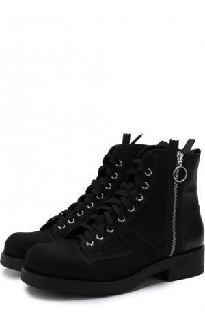 Высокие комбинированные ботинки на шнуровке с молнией O.X.S.. Цвет: черный