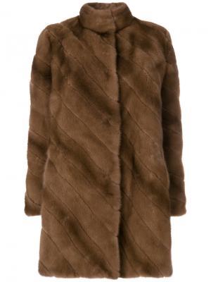 Норковая шуба в стиле оверсайз Liska. Цвет: коричневый