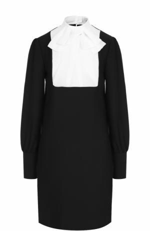 Мини-платье прямого кроя с воротником аскот Carven. Цвет: черный