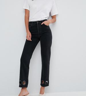 ASOS Tall Черные прямые джинсы с большими заклепками FLORENCE. Цвет: черный