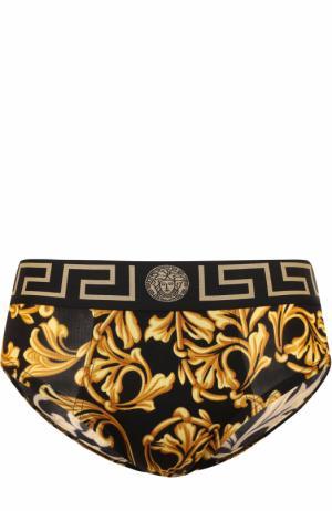 Брифы из вискозы с широкой резинкой Versace. Цвет: желтый