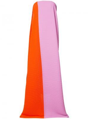 Платье макси дизайна колор-блок Solace. Цвет: жёлтый и оранжевый