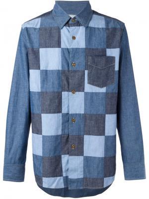 Лоскутная джинсовая рубашка Ganryu Comme Des Garcons. Цвет: синий
