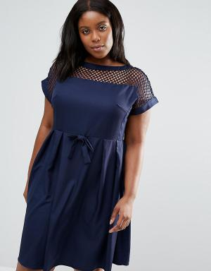 Praslin Платье с сетчатой вставкой сверху Plus. Цвет: темно-синий