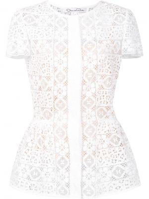 Блузка из цветочного кружева Oscar de la Renta. Цвет: белый