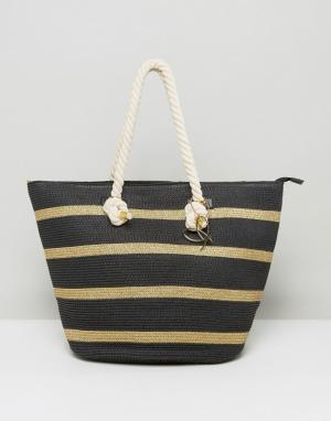 Pia Rossini Соломенная сумка с веревочными ручками. Цвет: черный