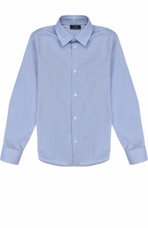 Хлопковая рубашка прямого кроя Dal Lago. Цвет: темно-синий