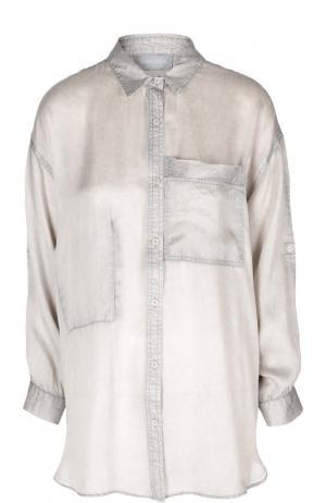 Удлиненная блуза с накладным карманом Zadig&Voltaire. Цвет: голубой