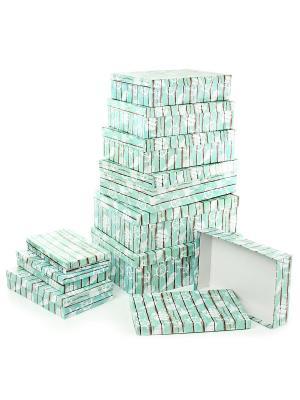 Набор из 10 картонных коробок 23*13*3-36,5*26,5*12см, Волшебная сказка VELD-CO. Цвет: светло-зеленый, салатовый