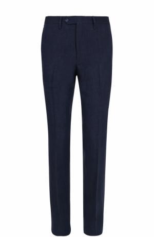 Льняные брюки прямого кроя Germano. Цвет: синий
