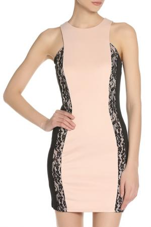 Коктейльное платье с контрастными вставками GIRLS ON FILM. Цвет: pink, black