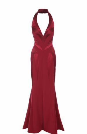 Приталенное шелковое платье-макси с подолом Rubin Singer. Цвет: бордовый