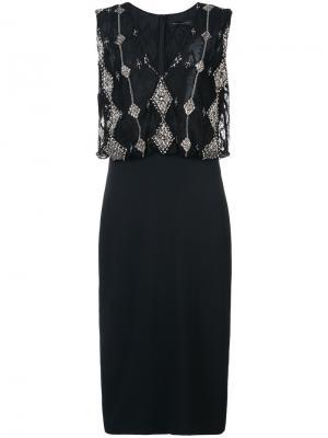 Кружевное присборенное платье Sally Lapointe. Цвет: чёрный