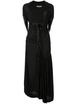 Длинное платье с бахромой Preen Line. Цвет: чёрный