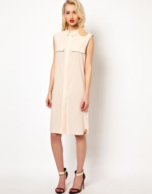 Aqua Платье-рубашка с открытой спиной AQ/AQ Jen. Цвет: белый