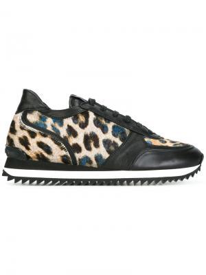Кроссовки с леопардовым узором Le Silla. Цвет: чёрный