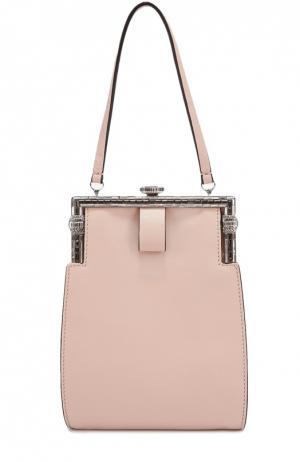 Кожаный клатч с декоративной отделкой No. 21. Цвет: розовый