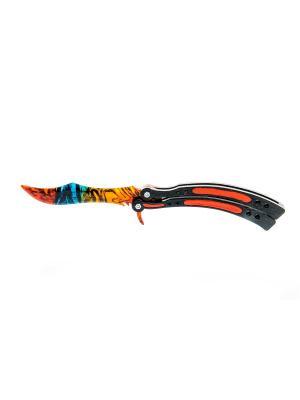 Нож-бабочка. Мраморный градиент MASKBRO. Цвет: оранжевый