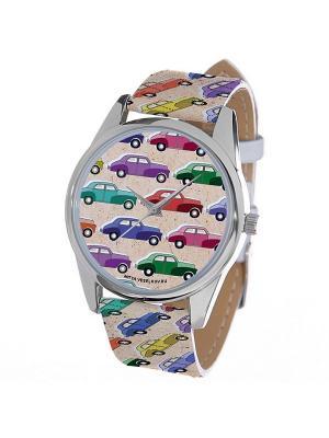 Часы Mitya Veselkov Цветные машинки. Цвет: белый