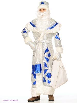Карнавальный костюм Дед Мороз серебряно-синий Батик. Цвет: серебристый, синий
