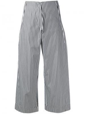 Укороченные полосатые поплиновые брюки Federica Tosi. Цвет: чёрный