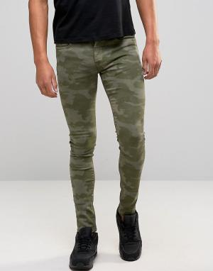 Brooklyn Supply Co. Co Skinny Fit Jeans In Green Camo. Цвет: зеленый