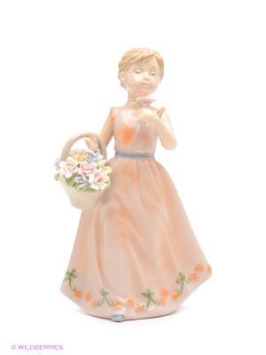 Фигурка Девочка с корзинкой Pavone. Цвет: персиковый