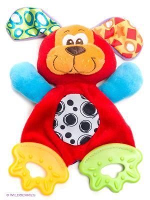 Мягкая игрушка-прорезыватель Щенок Playgro. Цвет: красный, голубой