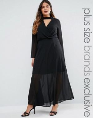 Truly You Платье макси с длинными рукавами и воротником. Цвет: черный