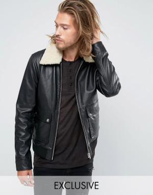 Black Phoenix Куртка-пилот с воротником из овечьей шерсти. Цвет: черный