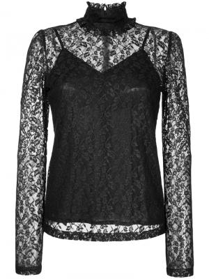 Foiled lace frilled high neck top G.V.G.V.. Цвет: чёрный