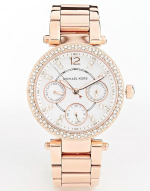 Michael Kors Часы цвета розового золота с хронографом Parker MK5616. Цвет: золотой