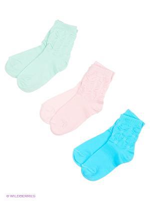 Носки, 3 пары Гамма. Цвет: розовый, бирюзовый, голубой