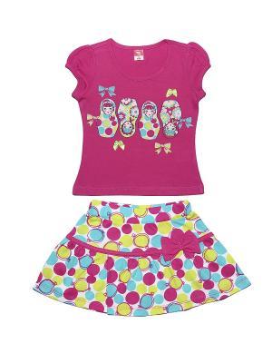 Комплект для девочки (футболка, юбка) Cherubino. Цвет: фуксия