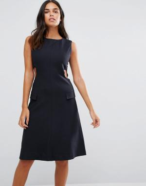 YMC Приталенное платье с вырезами по бокам. Цвет: темно-синий