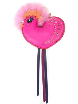 Брелок в виде птицы MCM. Цвет: розовый и фиолетовый