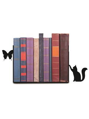 Декоративная подставка-ограничитель для книг Кот и бабочка Magic Home. Цвет: черный