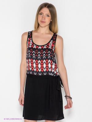 Платье MAVI. Цвет: черный, красный, белый