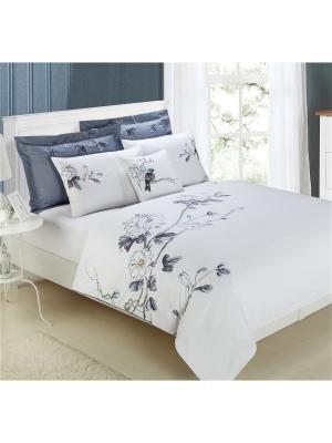 Комплект постельного белья Delux Евро Felina Mona Liza. Цвет: белый, голубой