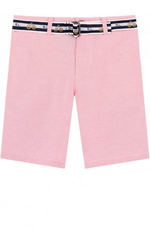 Хлопковые шорты с контрастным ремнем Polo Ralph Lauren. Цвет: розовый