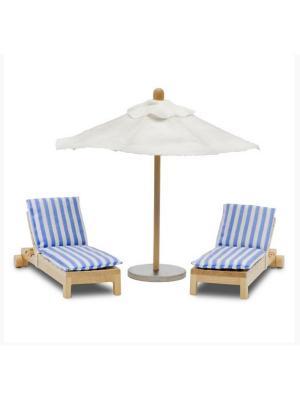 Набор мебели для домика шезлонги с зонтиком Lundby. Цвет: белый