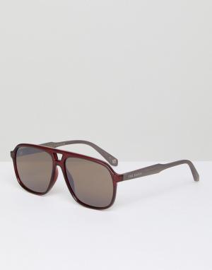 Ted Baker Бордовые солнцезащитные очки-авиаторы TB1504 200 Ervin. Цвет: красный