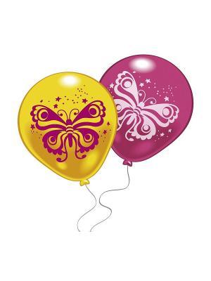 10 шариков с рисунком Бабочка Everts. Цвет: розовый