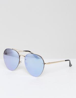 Quay Australia Золотистые солнцезащитные очки-авиаторы. Цвет: золотой