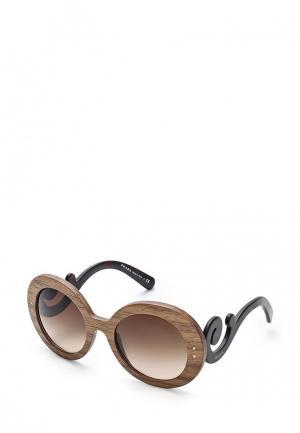 Очки солнцезащитные Prada. Цвет: коричневый