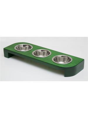 Подставка для кормления животных тройная (дерево) 3*480мл Doggy Style. Цвет: зеленый