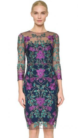 Коктейльное платье из тюля с вышивкой Marchesa Notte. Цвет: темно-синий