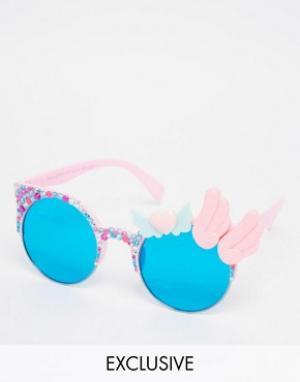 Spangled Квадратные солнцезащитные очки с сердцем и крыльями. Цвет: розовый
