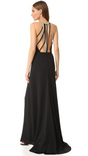 Вечернее платье с высоким вырезом и несколькими цепочками на спине Halston Heritage. Цвет: голубой