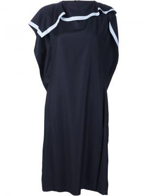 Платье с воротником-шарфом Xiao Li. Цвет: синий